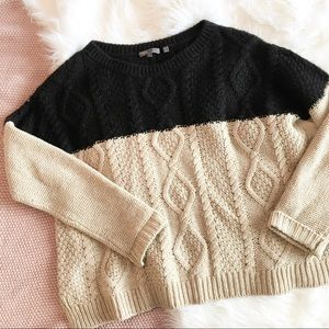 Vince Color block Cable-knit Chunky Sweater